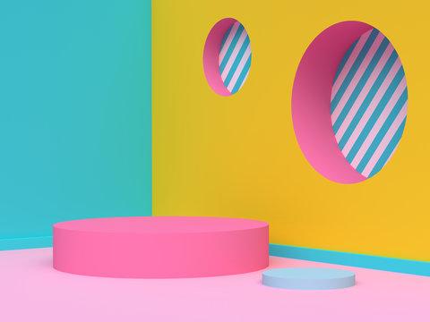 yellow green pink wall corner abstract geometric scene 3d render