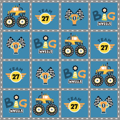 vector cartoon seamless pattern with monster truck race.