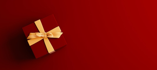 Mock-up poster, dark red colored gift box with golden bow on dark red background, 3D Render, 3D Illustration