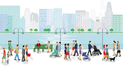 Menschen zu Fuß am Fluss mit Stadtansicht im Hintergrund