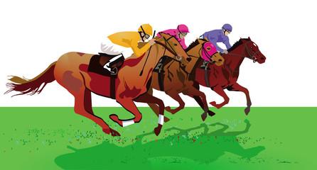Pferderennen mit Jockeys auf Rennbahn