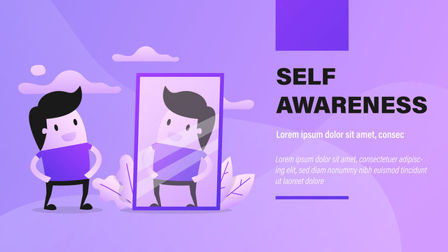 Reflection, Self Awareness. Business Presentation Background with Illustration.