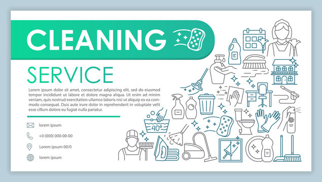 Cleaning service web banner, business card vector template. Housekeeping company contact page with phone, email linear icons. Presentation, web page idea. Cleaners corporate print design layout