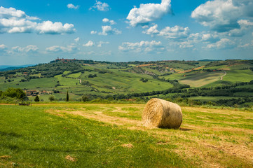 Canvas Prints Honey Tuscany landscape with hay bales in the field, Italy