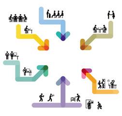 Pfeilzeichen, Richtung Entscheidung, Strategie-Illustration