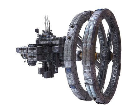 Future Space Station Isolated on White Background 3D Illustration