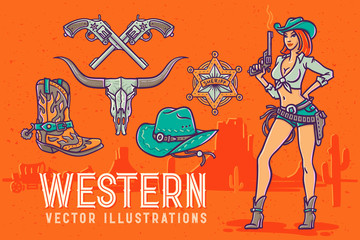 Wild west style font with pretty cowgirl illustration with a gun.
