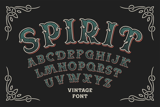 Vintage decorative typeface with color layers and beautiful ornate frame