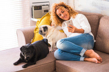 beautiful happy woman sitting on the sofa taking a selfie with her two cute pugs lovely domestic dog - alternative friendship at home - taking a picture or a photo with love