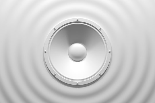 abstract sound speaker with dynamic bass waves - 3D Illustration