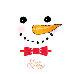 Chtistmas greeting card with cute snowman in red bow tie in minimalist style