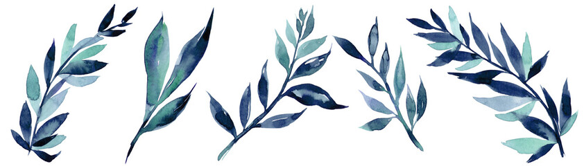 Hand drawn watercolor illustration of abstract blue branch. Elements for design of invitations, movie posters, fabrics and other objects