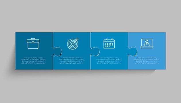 Four pieces puzzle line diagram info graphic.