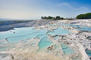 Foto auf Leinwand Pool Travertines of Pamukkale (thermal pools) at Pamukkale or Cotton castle, Turkey