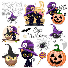 Cute Halloween illustrations with owl, black cat and spider