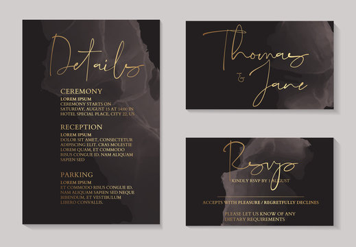 Luxury dark chocolate wedding invitation cards with gold marble texture and geometric pattern minimal style vector design template. Cute invitation, party collection.