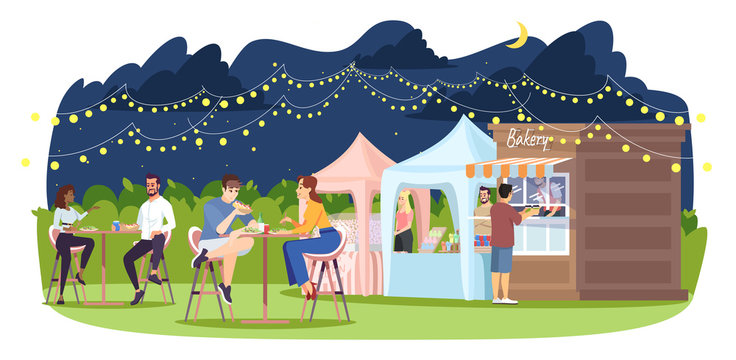 Night market flat vector illustration. Food court at summer outdoor city fest. Town holiday. Park cafe, trade tents, people at tables isolated cartoon characters on white background