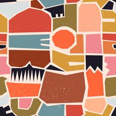 Diverses formes, points, points et lignes dessinés à la main. Différentes couleurs pastel. Modèle sans couture contemporain abstrait. Illustration de patchwork moderne en vecteur. Parfait pour les impressions textiles