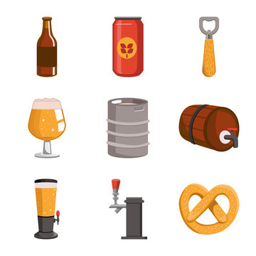Vector illustration of beer and bar sign. Set of beer and pub stock symbol for web.