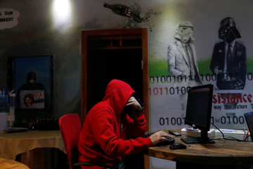 A man takes part in a training session at Cybergym, a cyber-warfare training facility backed by the Israel Electric Corporation, at their training center in Hadera, Israel