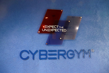 The logo of Cybergym, a cyber-warfare training facility backed by the Israel Electric Corporation, is seen at their training center in Hadera, Israel