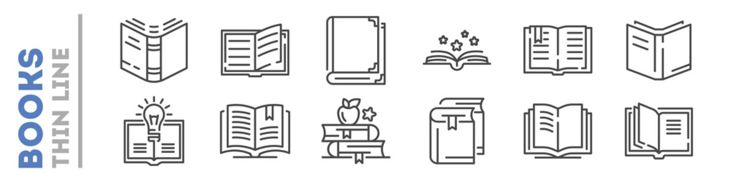 School, university books set of thin line icons on white. Outline publishing house, library pictograms collection. Reading festival, club logos. Writing competition vector for infographic, web.