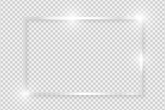Silver shiny glowing vintage rectangle frame with shadows isolated on transparent background. Metal luxury realistic rectangle border. Vector illustration