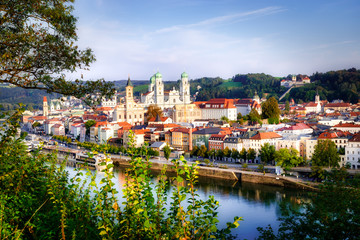 Aerial view of the historic city of Passau on a beautiful summer day, Germany