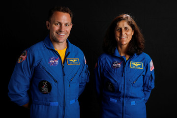NASA commercial crew astronauts SunitaWilliams and Josh Cassada pose for a picture at the Johnson Space Center in Houston