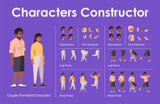 Dark skin man, woman front view animated flat vector characters design set. Сharacter animation creation cartoon pack. Couple constructor with various face emotion, body poses, hand gestures, legs kit
