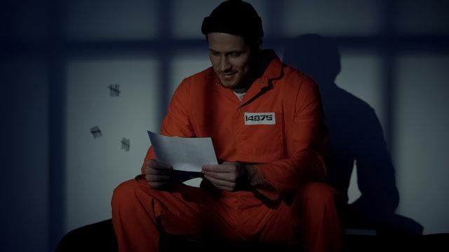 Prisoner receiving letter from family, feeling homesick, application for pardon