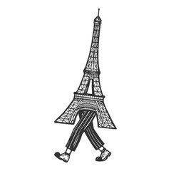 Eiffel Tower walks on its feet sketch engraving vector illustration. Scratch board style imitation. Black and white hand drawn image.