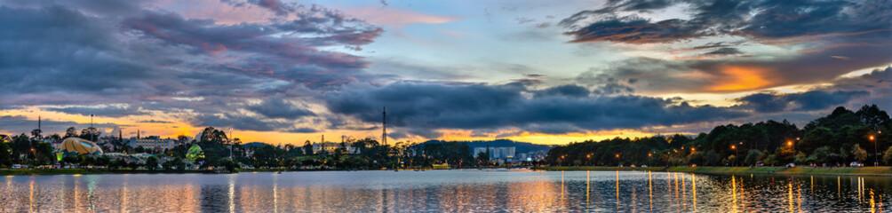 Sunset at Xuan Huong Lake in Dalat, Vietnam