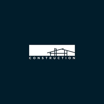 minimalist construction logo design inspiration . architect contruction logo template