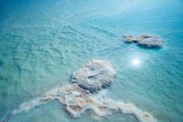 Fototapete - Blue natural background. The texture of the Dead Sea. Salty sea shore background
