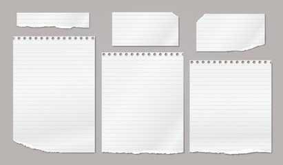 Set of torn white note, notebook strips, paper pieces with soft shadow stuck on brown background. Vector illustration