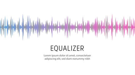 Equalizer poster template. Sound wave or radio wave, vector illustration. Wall mural