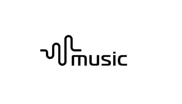 Music logo. Sound wave or radio wave vector emblem template. Isolated flat simple icon.