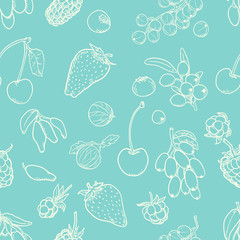 Vector Seamless Pattern of Berries on Turquoise Background