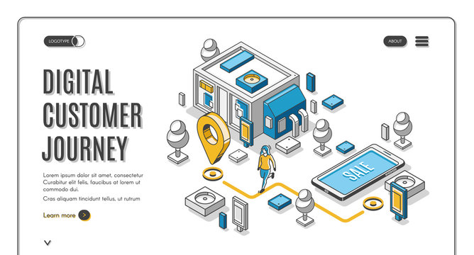 Digital customer journey isometric web banner. Process of purchasing decision map, buyer make purchase moving by specified route, promotion, website. 3d vector illustration, line art, landing page