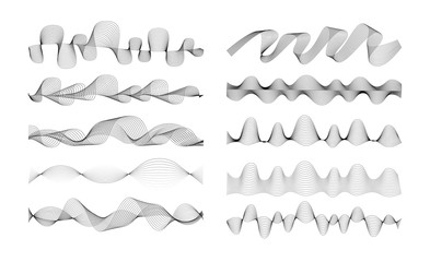 Foto auf AluDibond Abstrakte Welle Set of Radio Wave icons. Monochrome simple sound wave on white background. Isolated vector illustration.