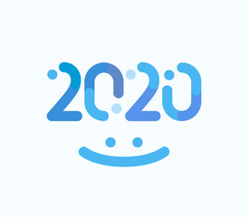 2020 numbers creative winter design. Happy New Year greeting card cover or event emblem concept. Isolated vector ilusttation on white background.
