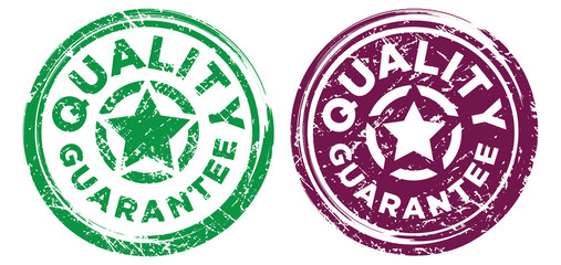 Quality Guarantee stamps in green and red burgundy colors. Grunge texture. Vector illustration.