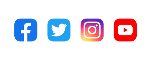 Set of facebook twitter instagram and youtube icons. Social media icons. Realistic set. illustration