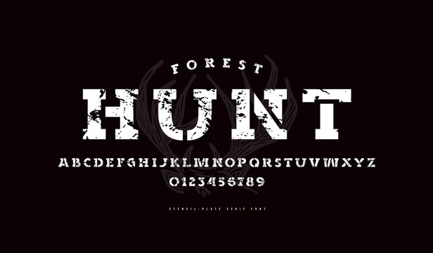 Stencil-plate serif font in military style