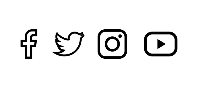 Set of facebook twitter instagram and youtube icons. Social media icons. Black colored set. Linear style. Vector