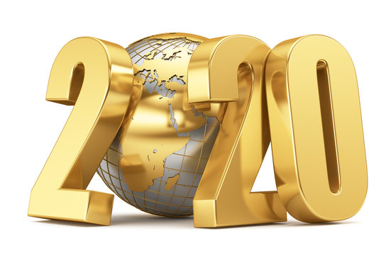 Metallic globe and golden year 2020 on a white background. Christmas illustration. 3d rendering.