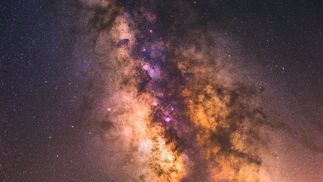 Image showing the milky way galactic core with veil nebula and lagoon nebula in Sagittarius A region.