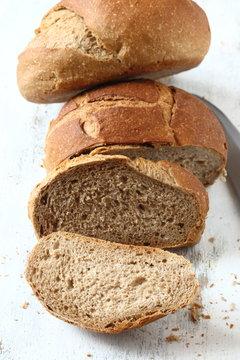 Bread, whole grain wheat bread on a white background