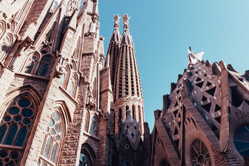 In de dag Barcelona Sagrada Familia building exterior on hot summer day in Barcelona Spain with blue sky